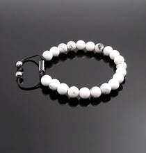 Load image into Gallery viewer, Unisex White Howlite Shamballa Bracelet Reduce Anxiety Natural Gemstone Adjustable Bracelet