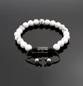 Unisex White Howlite Shamballa Bracelet Reduce Anxiety Natural Gemstone Adjustable Bracelet