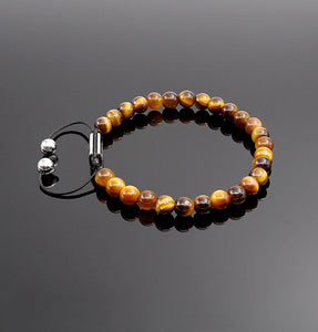 Unisex Yellow Tiger Eye Beaded Bracelet Handmade Bracelet