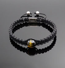 Load image into Gallery viewer, Mens Yellow Tiger Eye Macrame Bracelet