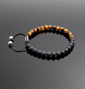 Unisex Matt Onyx Yellow Tiger Eye Beaded Bracelet Gemstone Adjustable Bracelet