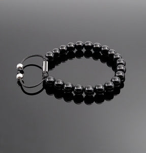 Unisex Obsidian Beaded Bracelet Natural Gemstone Protection Stone Handmade Bracelet