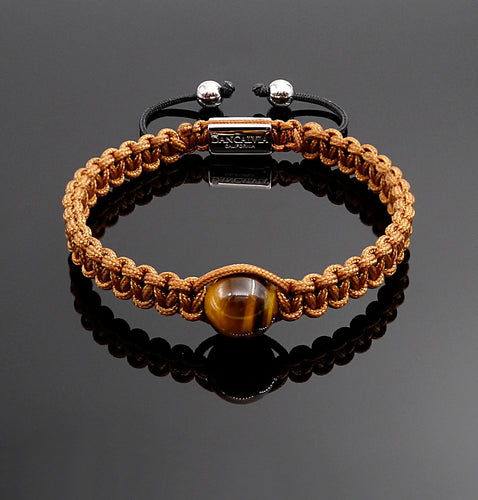 Mens Yellow Tiger Eye Macrame Bracelet