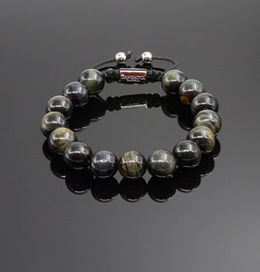 Mens Blue Tigers Eye Gemstone Handmade Shamballa Beaded Bracelet