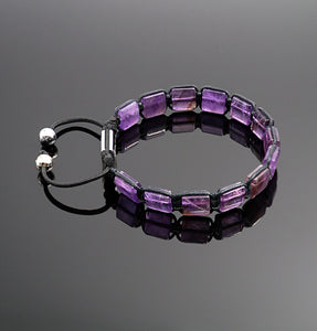 Womens Amethyst Square Braided Bracelet Adjustable Gemstone Jewelry