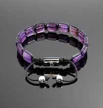 Load image into Gallery viewer, Womens Amethyst Square Braided Bracelet Adjustable Gemstone Jewelry