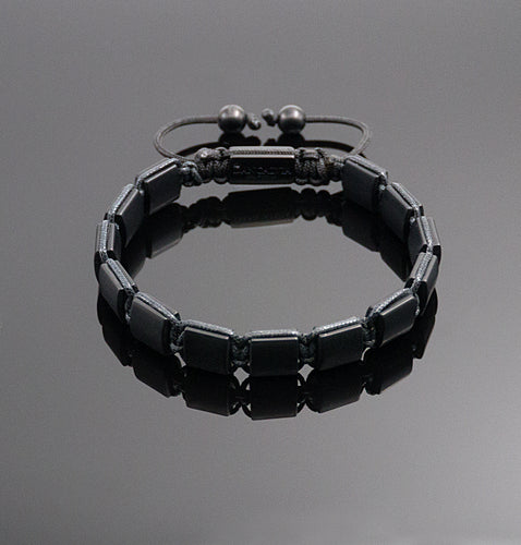 Unisex Matt Black Onyx Square Bracelet Braided Adjustable Gemstone Bracelet