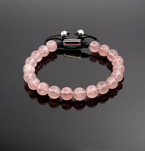 Women's Strawberry Quartz Handmade Beaded Bracelet Adjustable Bracelet