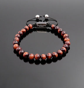 Unisex Red Tiger Eye Bead Handmade Bracelet Natural Gemstone Bracelet