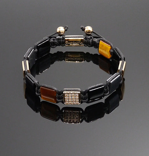 Yellow Tigers Eye Square & Black Onyx & Crystal Square Shamballa Bracelet
