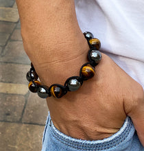 Load image into Gallery viewer, Men's Yellow Tiger Eye & Hematite Gemstone Bracelet Adjustable Shamballa Bracelet
