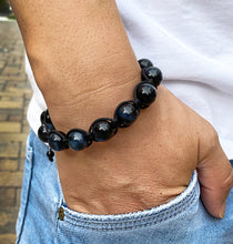 Load image into Gallery viewer, Mens Blue Tigers Eye Gemstone Handmade Shamballa Beaded Bracelet