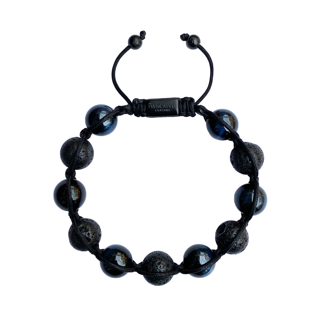 Mens Blue Tigers Eye & Lavastone Gemstone Handmade Shamballa Beaded Bracelet