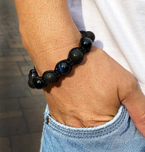 Load image into Gallery viewer, Mens Blue Tigers Eye & Lavastone Gemstone Handmade Shamballa Beaded Bracelet