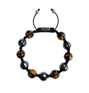 Men's Yellow Tiger Eye & Hematite Gemstone Bracelet Adjustable Shamballa Bracelet