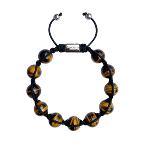 Men's Yellow Tiger Eye Gemstone Bracelet Adjustable Shamballa Bracelet