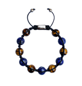 Men's Yellow Tiger Eye & Lapis Gemstone Bracelet Adjustable Shamballa Bracelet