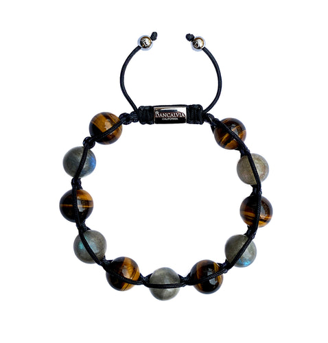 Men's Yellow Tiger Eye & Labradorite Gemstone Bracelet Adjustable Shamballa Bracelet