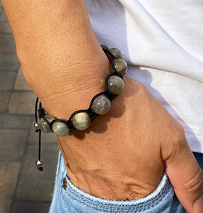 Men's Labradorite Gemstone Bracelet Adjustable Shamballa Bracelet