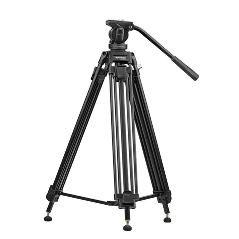 Professional Aluminum Video Tripod with Mid-Level Spreader