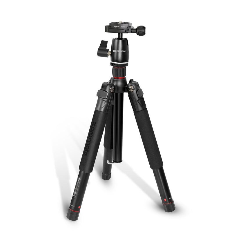 5-Section Aluminum Travel Tripod with Integrated Monopod