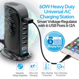 60W Heavy Duty Universal AC Charging Station with 6 USB Ports and 12A Smart Voltage Regulator