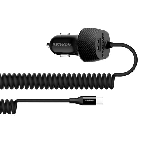 3.4A Car Charger with USB-C Coiled Cable