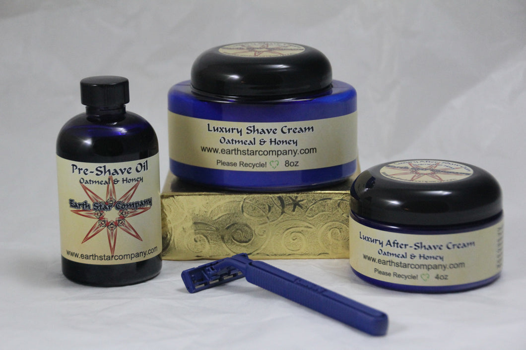 Luxury Shave System 3 Piece Set Oatmeal and Honey