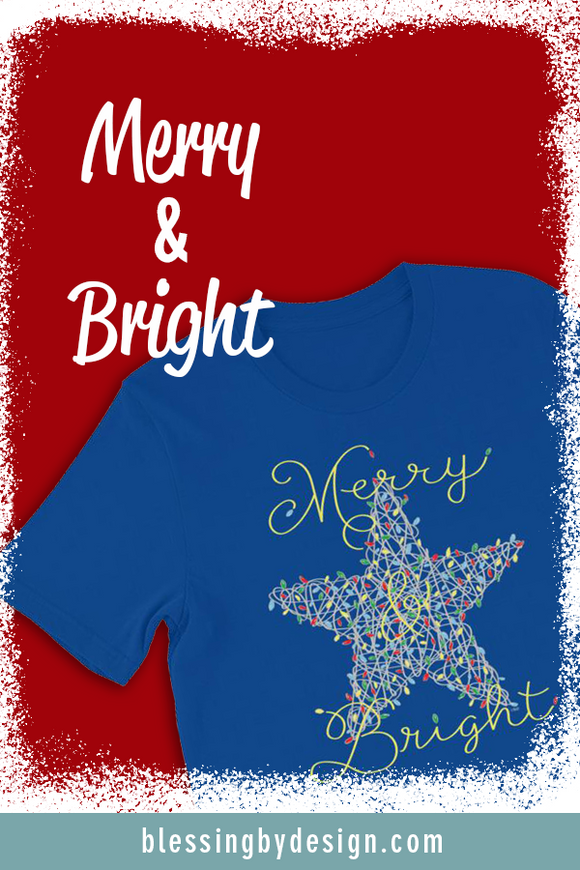 Merry & Bright Star String Art | Unisex T-Shirt