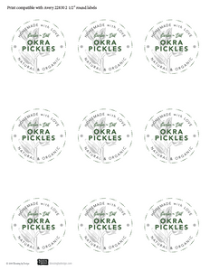 FREE Garlic-Dill Okra Pickles Labels