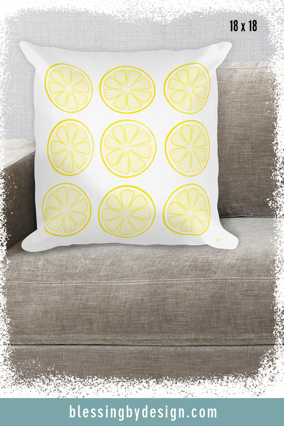 Lemon Woodcut Stamp | Square Pillow