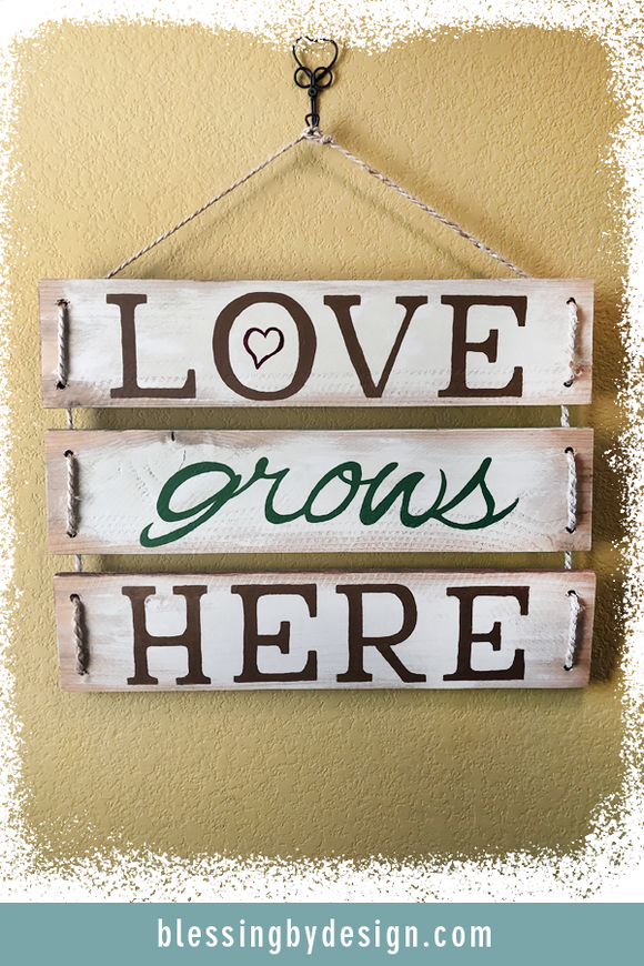 Love Grows Here | Rustic Wooden Sign