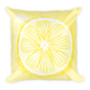 Watercolor Lemon | Square Pillow