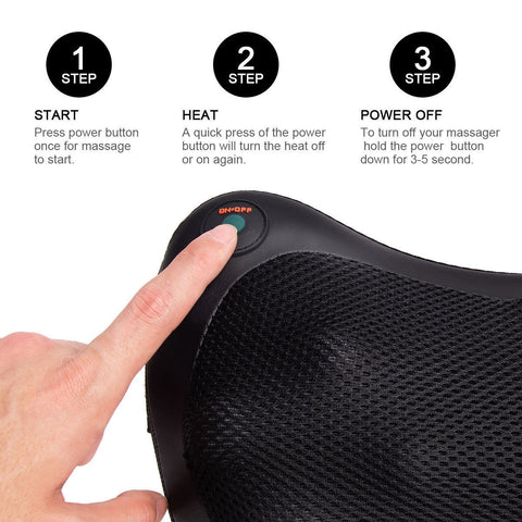 Shiatsu Heated Massage Pillow (8 nodes)