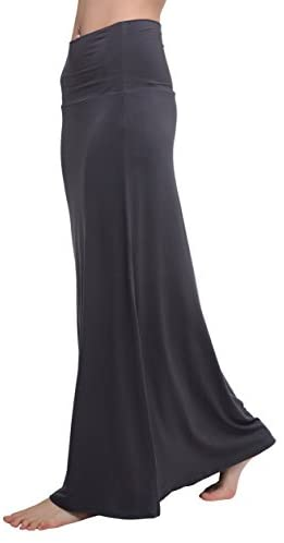 Urban CoCo Women's Stylish Spandex Comfy Fold-Over Flare Long Maxi Skirt at Amazon Women's Clothing store