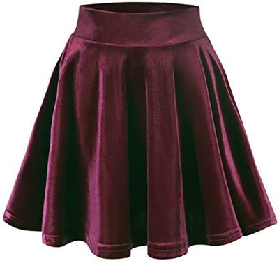 Urban CoCo Women's Vintage Velvet Stretchy Mini Flared Skater Skirt (L, Red) at Amazon Women's Clothing store