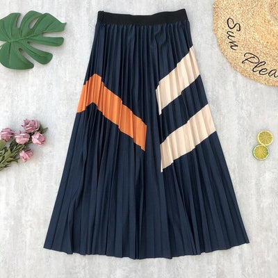 Skirts Womens Pleated Striped