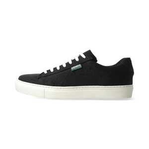 BLACK HEMP SNEAKERS (WHITE SOLE)