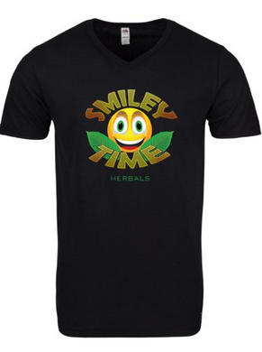 Smiley Time Shirt - Black V-neck (Men's)