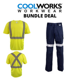 Coolworks Workwear Pants & Yellow Hi-Vis T-Shirt Bundle