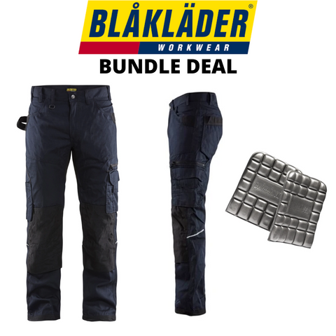 Blaklader Rip Stop Pants & Kneepads Bundle - Navy Blue