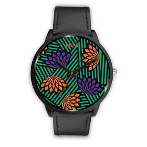 Aro Flower Black Leather Watch