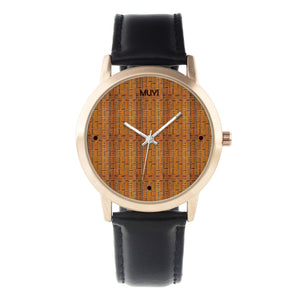 Kente Black Leather Band Watch