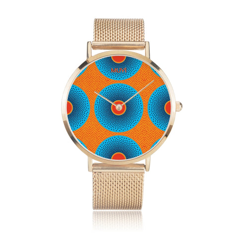 Simi Blue Dotted Gold Steel Watch