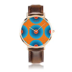 Simi Blue Dotted Brown Leather Watch