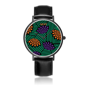 Aro Flower Leather Band Watch