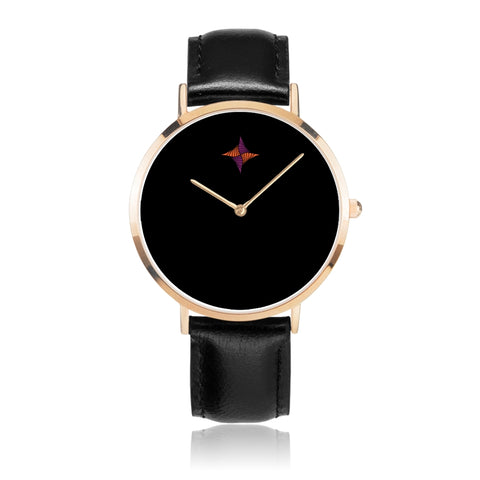 OP Tribal Star Black Leather Watch