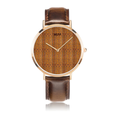 Kente Brown Leather Band Watch