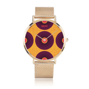 Simi Purple Dotted Gold Steel Band Watch