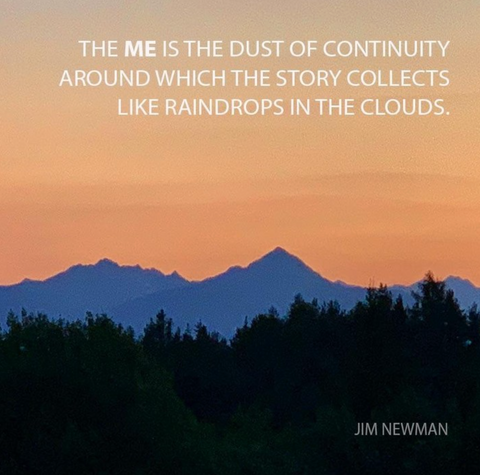 The me is the dust of continuity around which the story collects like raindrops in the clouds
